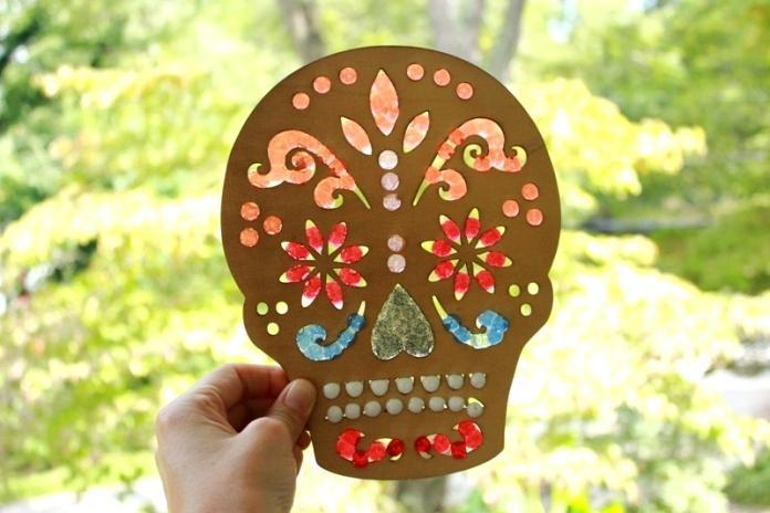 melted bead sugar skull sun catcher