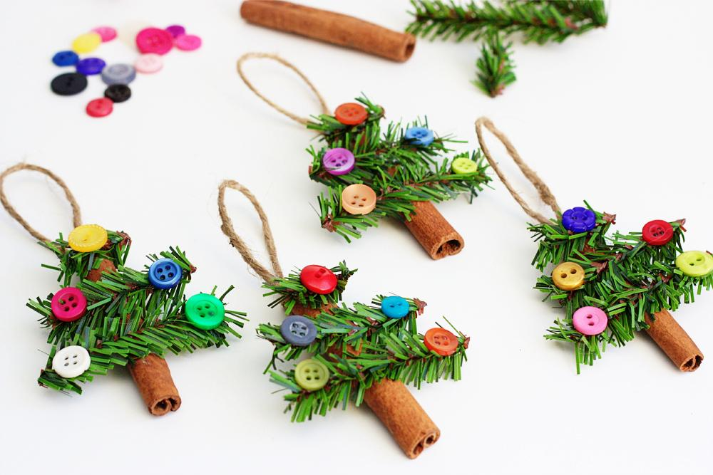 Christmas tree ornaments made with buttons