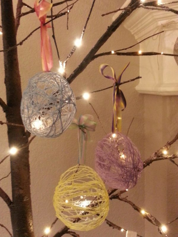 Thread Easter Eggs hung on a year-round tree