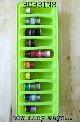 Organize bobbins in ice trays