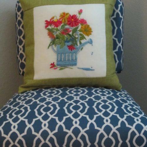Crewel Embroidery Pillow ReUse