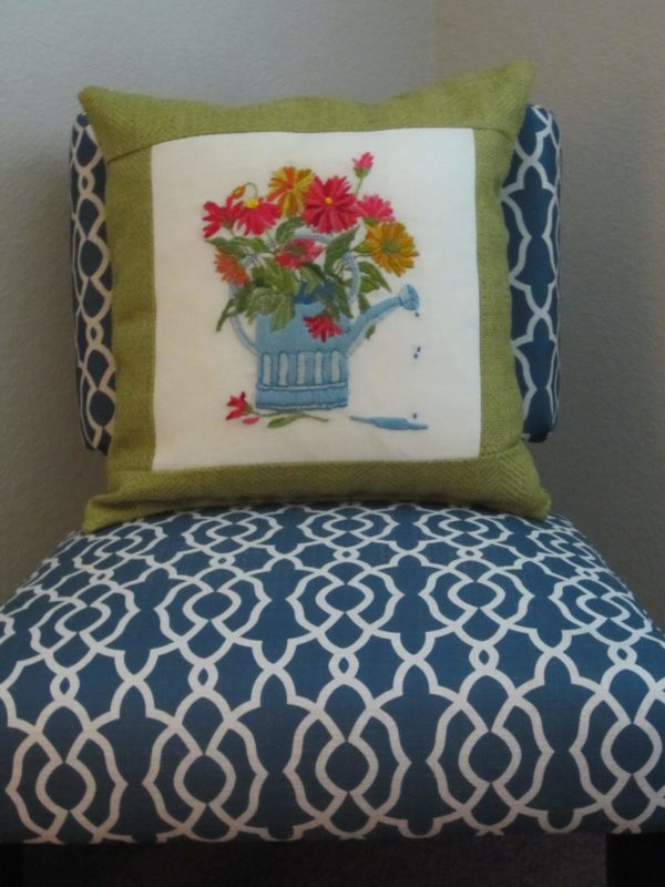 Crewel Embroidery Pillow ReUse
