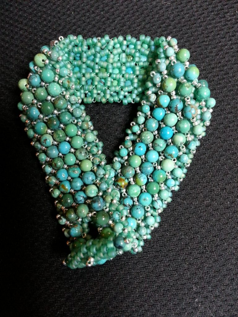 Turquoise with sterling silver seed beads and Peyote tube toggle clasp