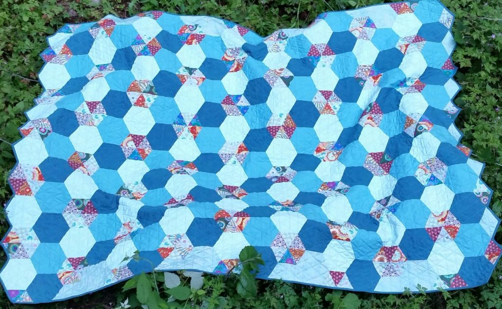 Scrappy Hexagon Quilt completed