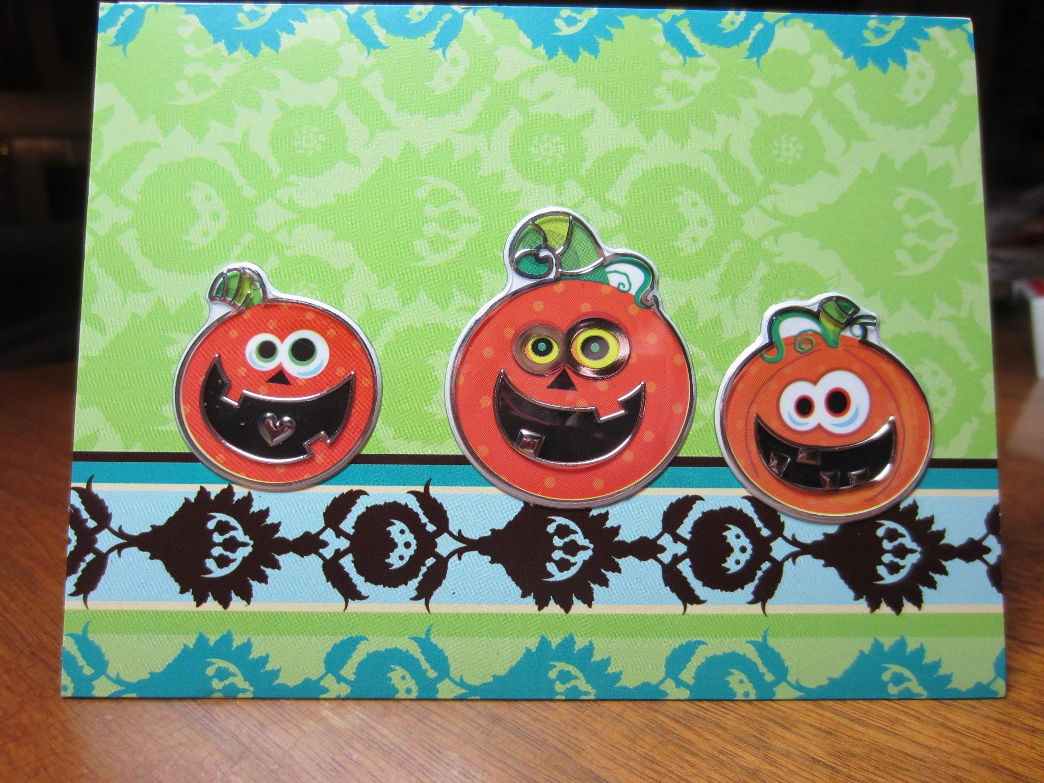 Pumpkins on a fence Halloween card.