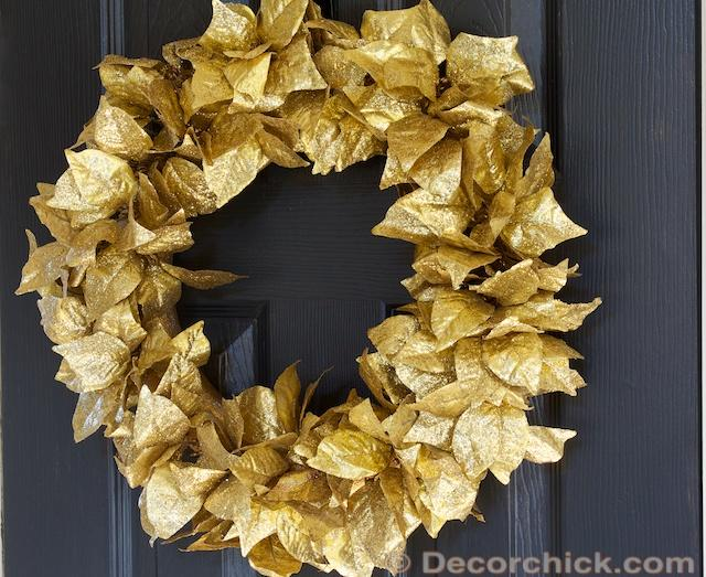 Gold Leaf Christmas Wreath by Decor Chick