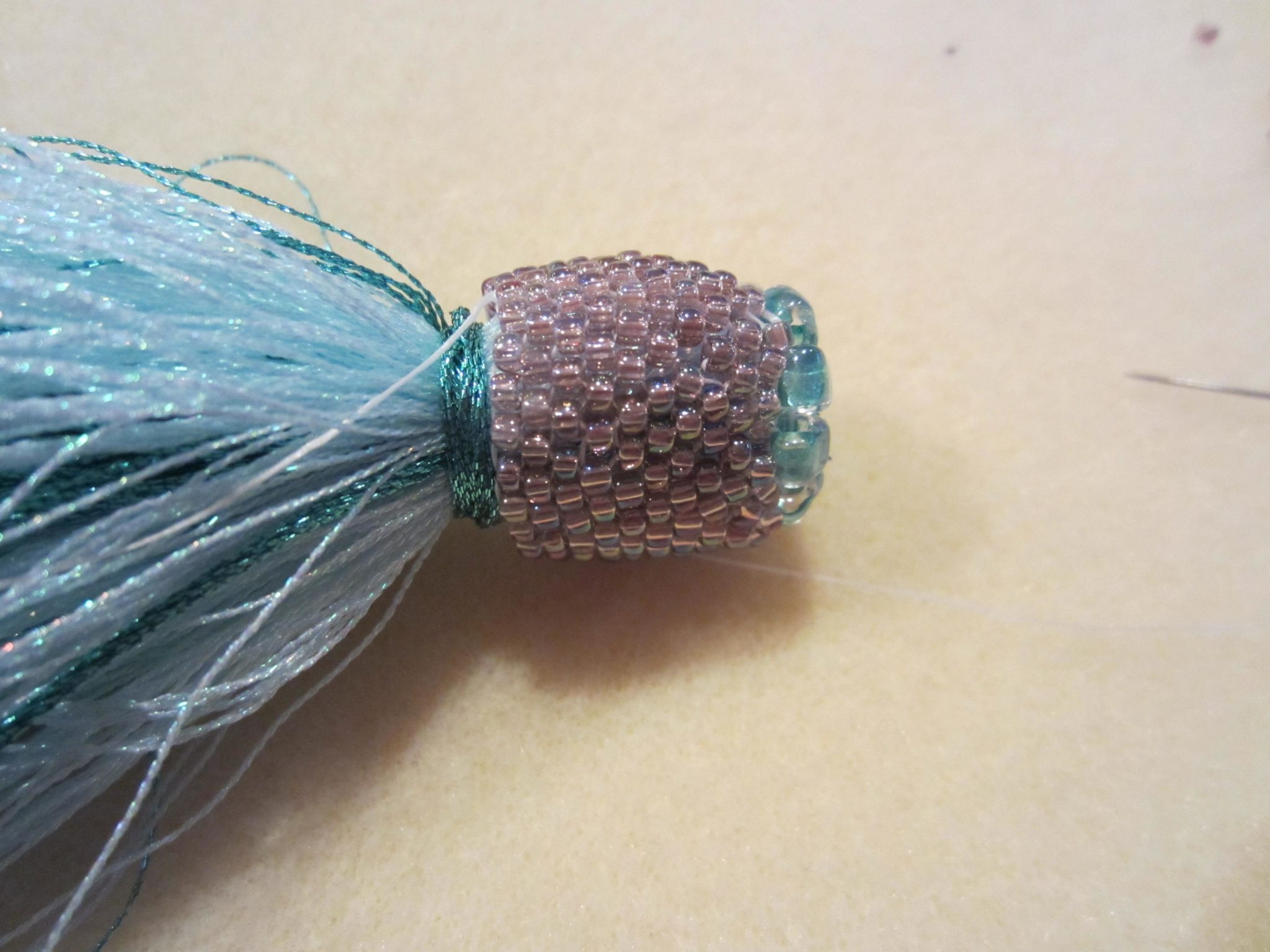 Beaded Tassels - adding the top ridge to the beaded cap