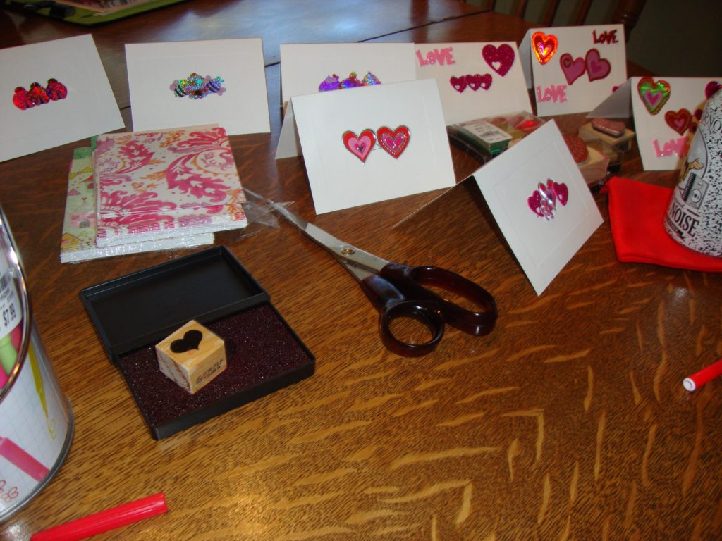 A whole bundle of Valentine Cards made with Leftovers and Dollar Store Stickers