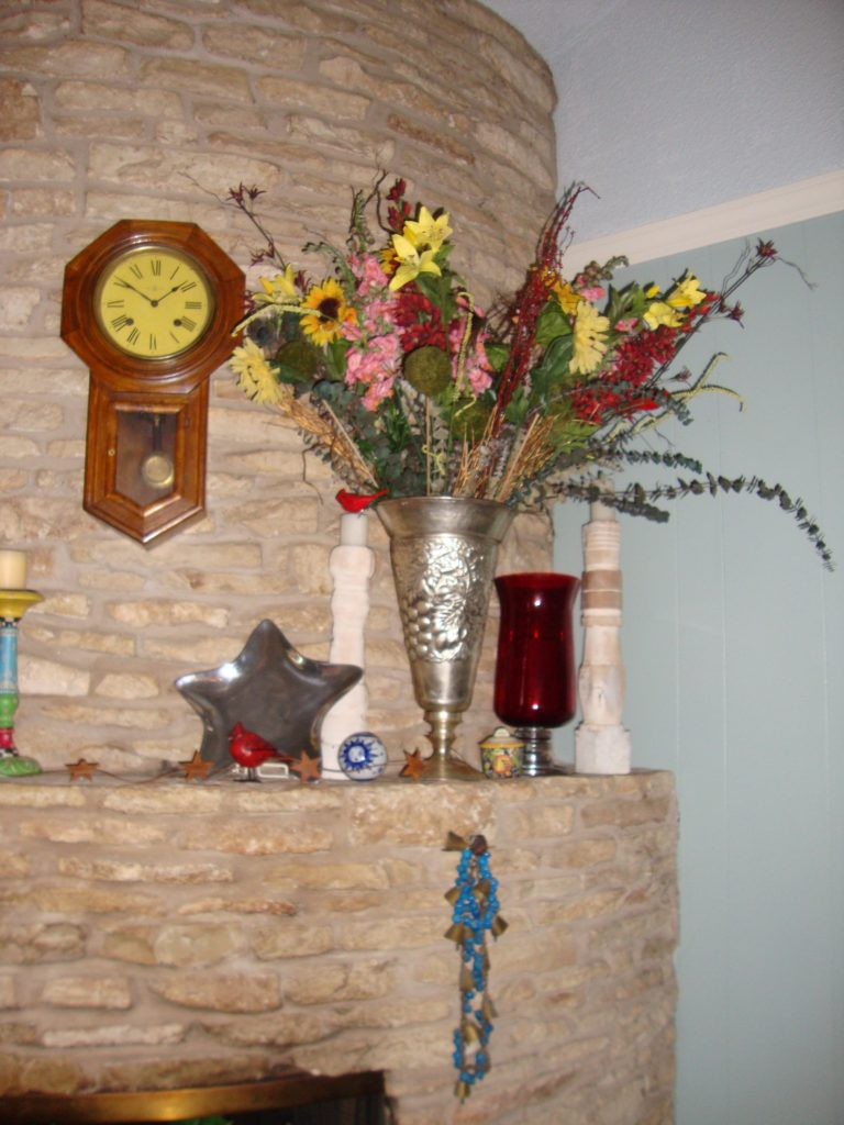 Red, white and blue fourth of july mantle