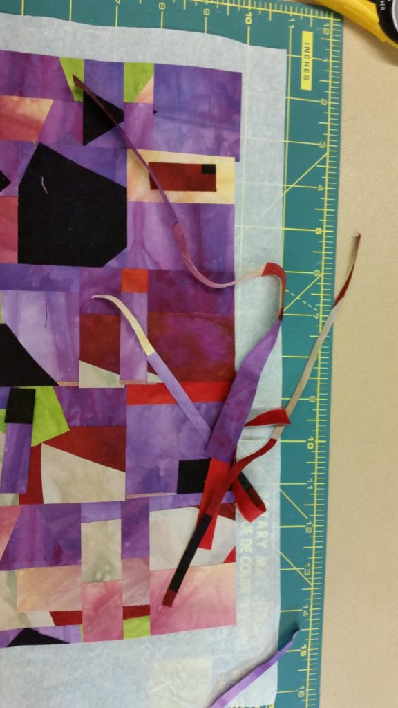 Lay the strips out to your liking, you can add some of the scraps on top.