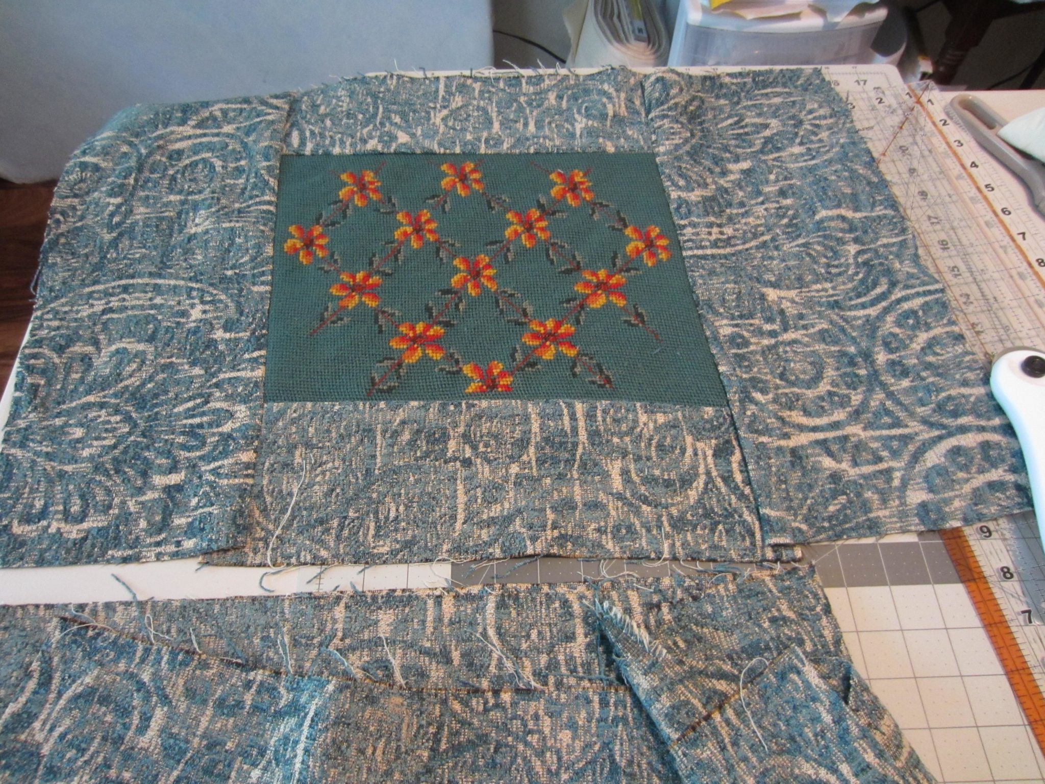 Pillow top done, working on back of pillow