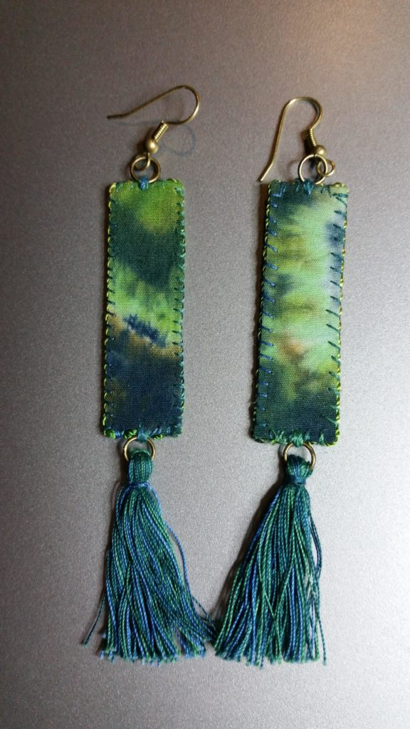 Tassel Earrings made from marbled fabrics