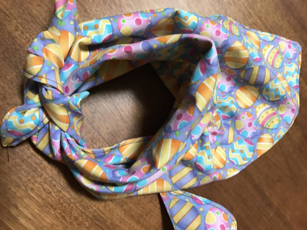 Completed Easy to Make Easter Dog Scarves