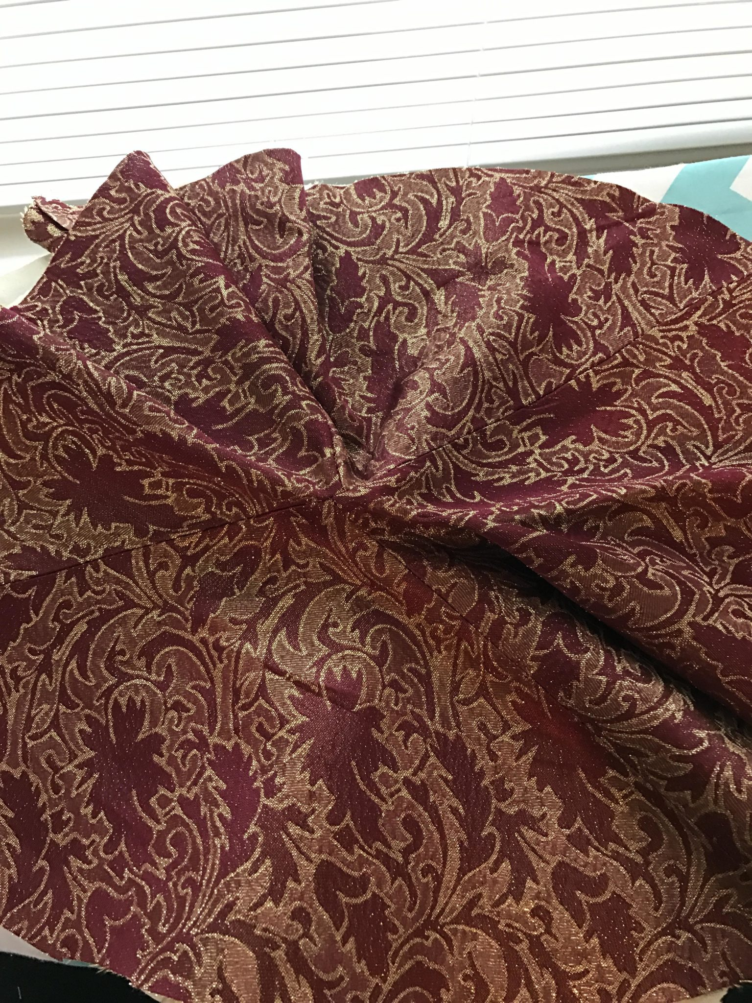 The brocade sewn together