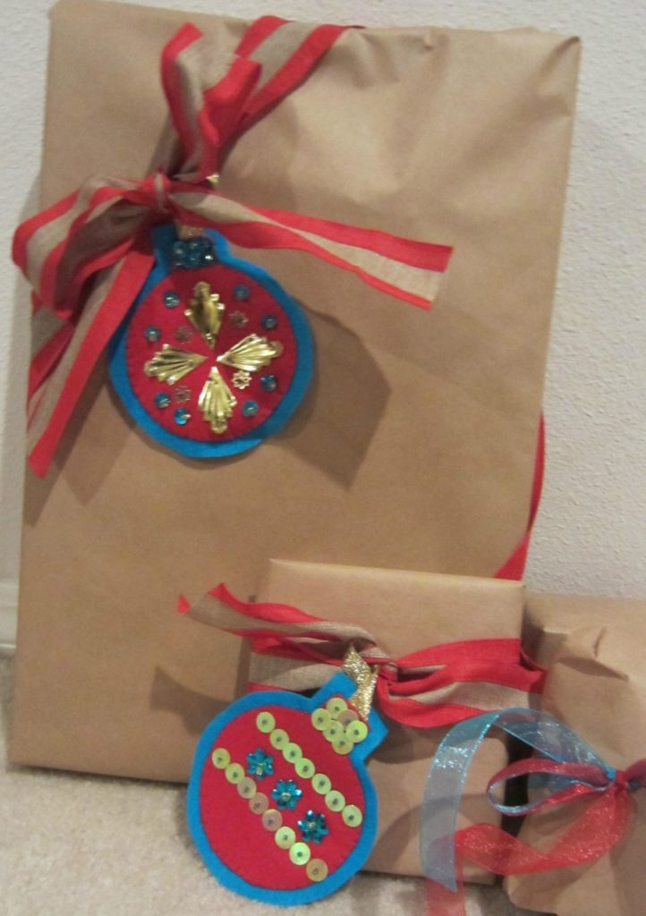Retro ornaments decorate a package