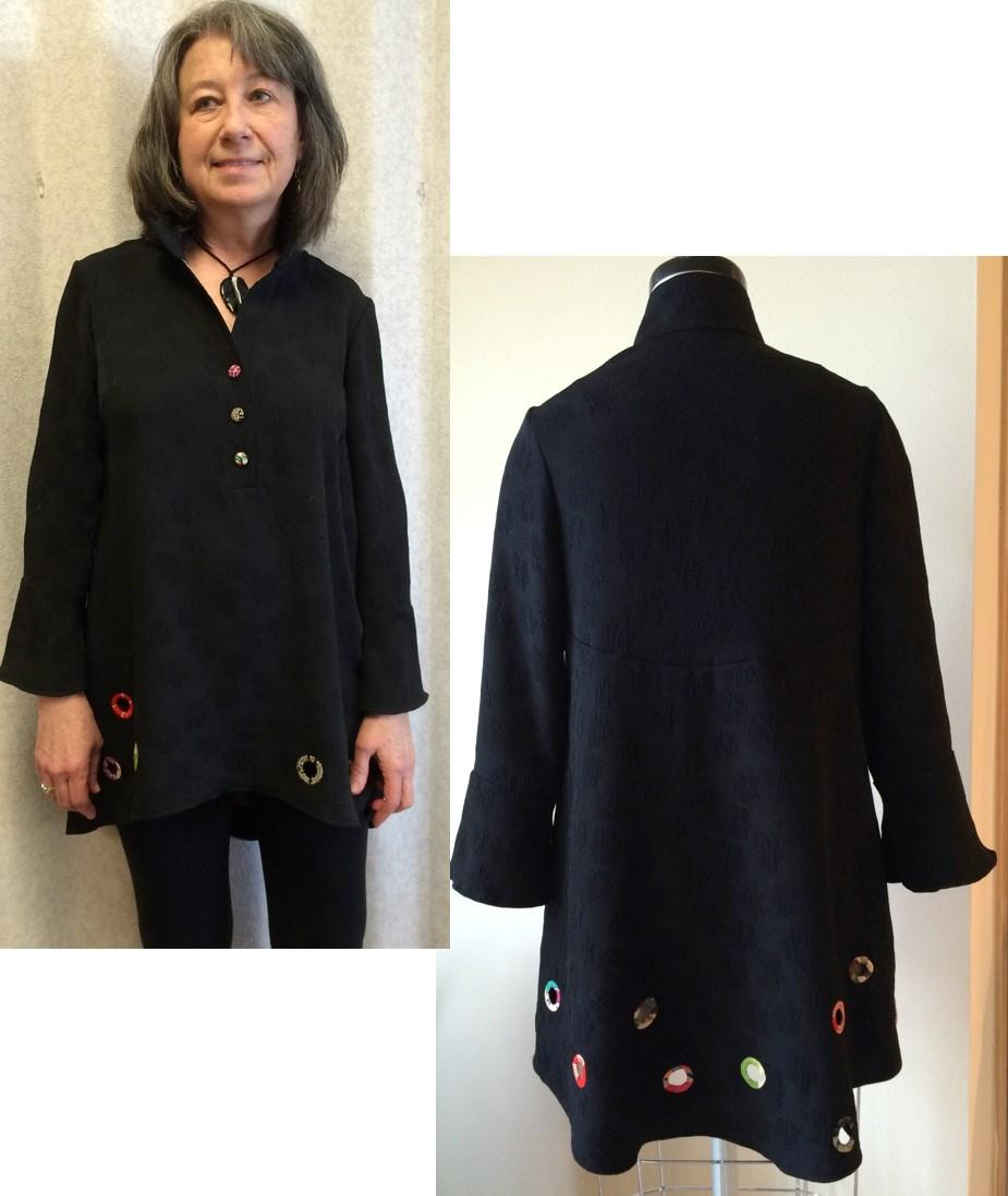 Finished garment highlighting the kimono bias covered holes