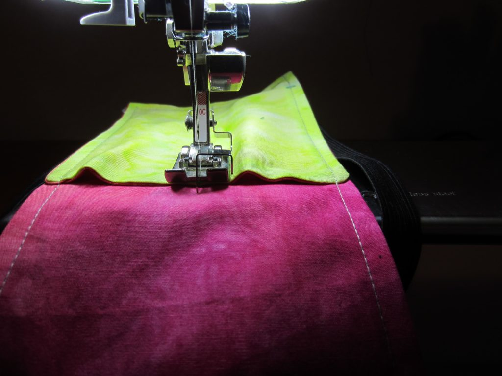 sewing the channels for the pens