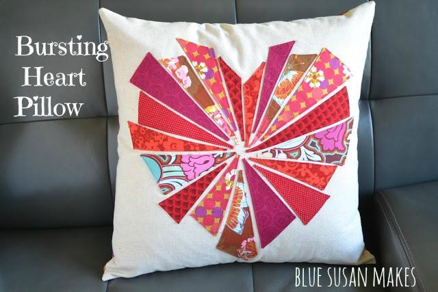 Bursting heart throw pillow