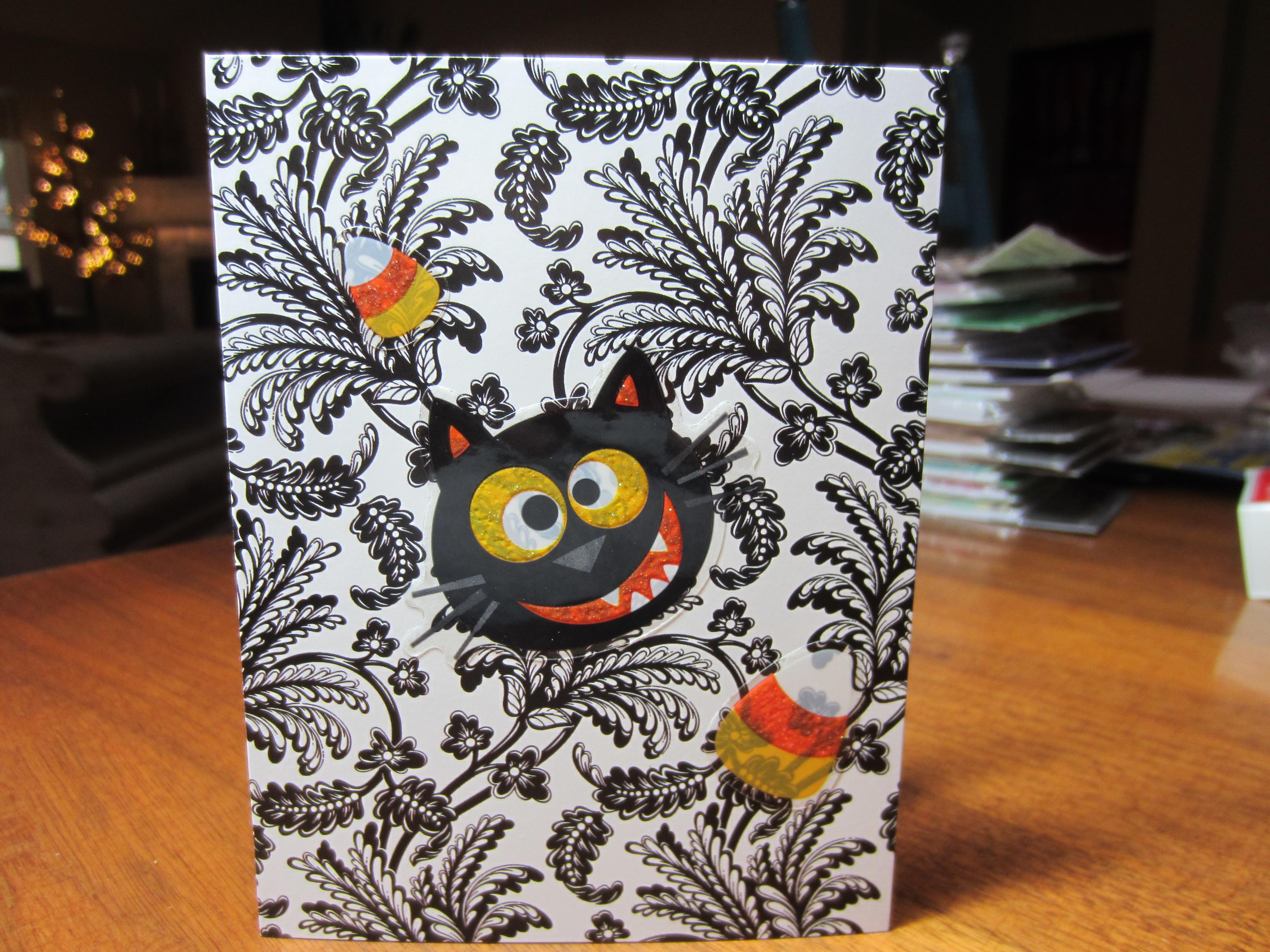 Black cat Halloween card, with a little candy corn!