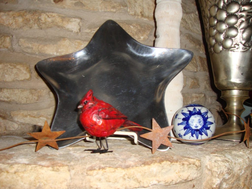 Subtle red, white and blue on the fourth of july mantel