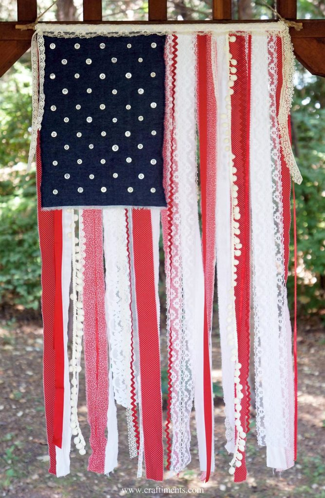 fabric, ribbon and lace flag