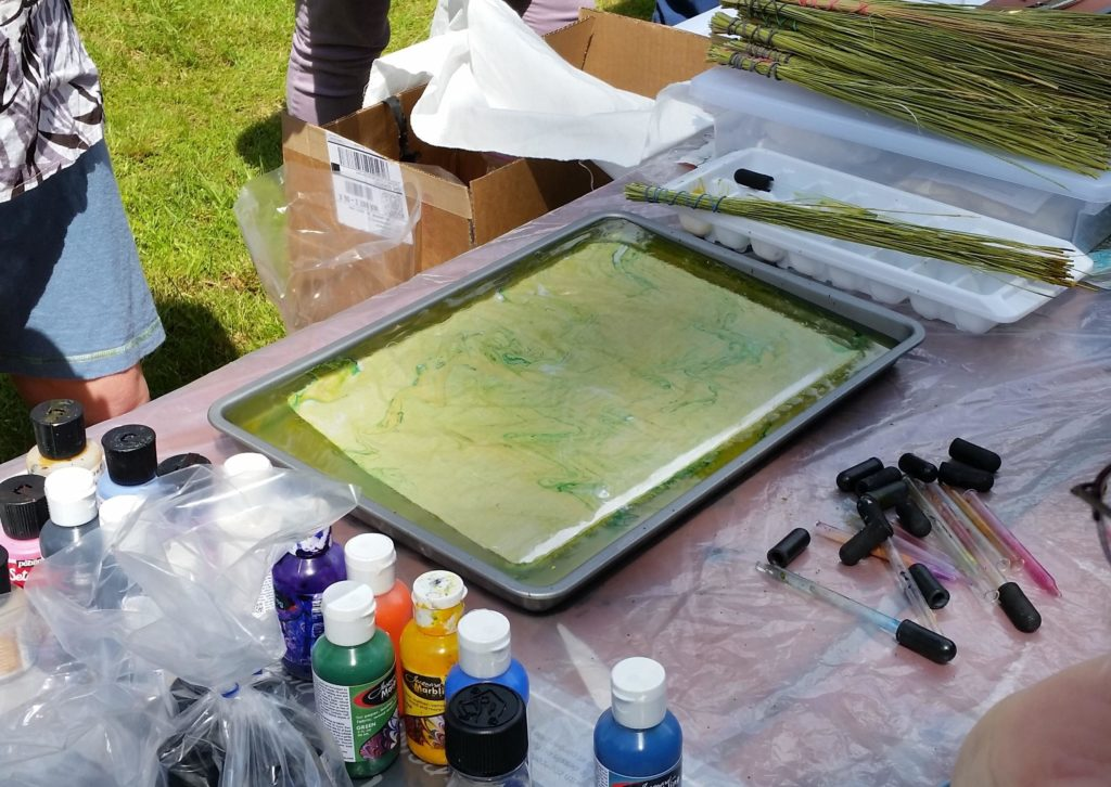 It only takes a few minutes for the paint to saturate the fabric
