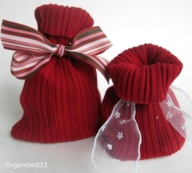 Sweater sleeve gift bags