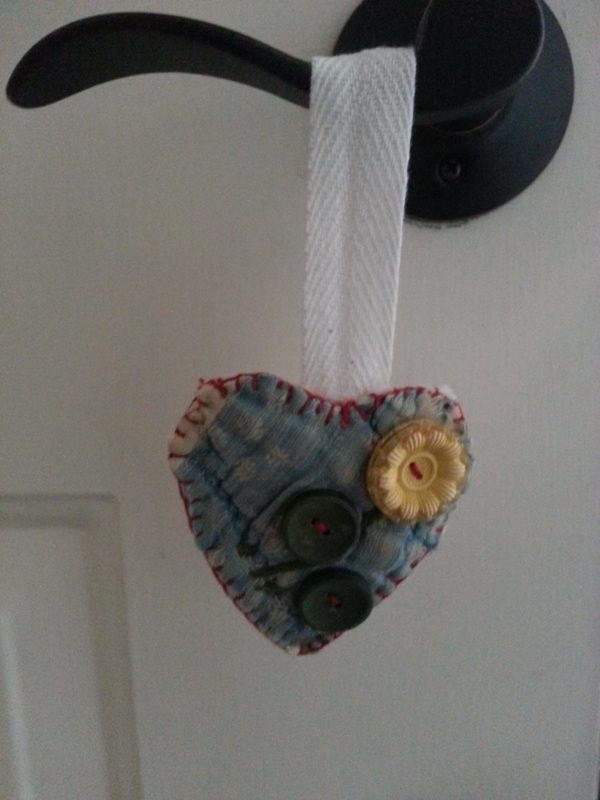 Quilted heart ornament for Valentine's day