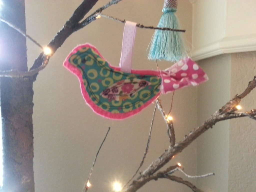 Scrappy Thread Stitched Dove Ornament