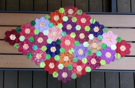Finished English Paper Piecing Hexagon Flower Garden Table Topper