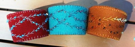 Embroidered and Beaded Wool Coffee Cozies