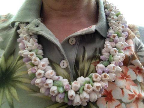 Finished polymer clay lei
