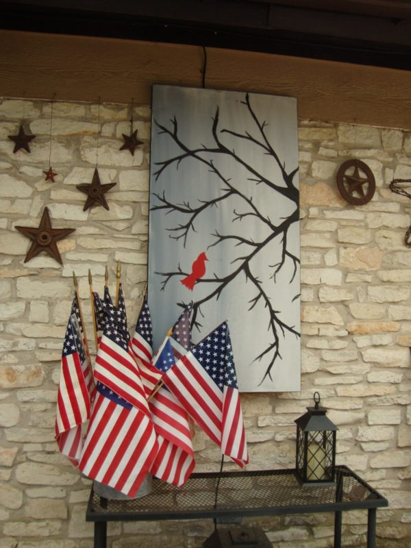 Flags decorating a patio
