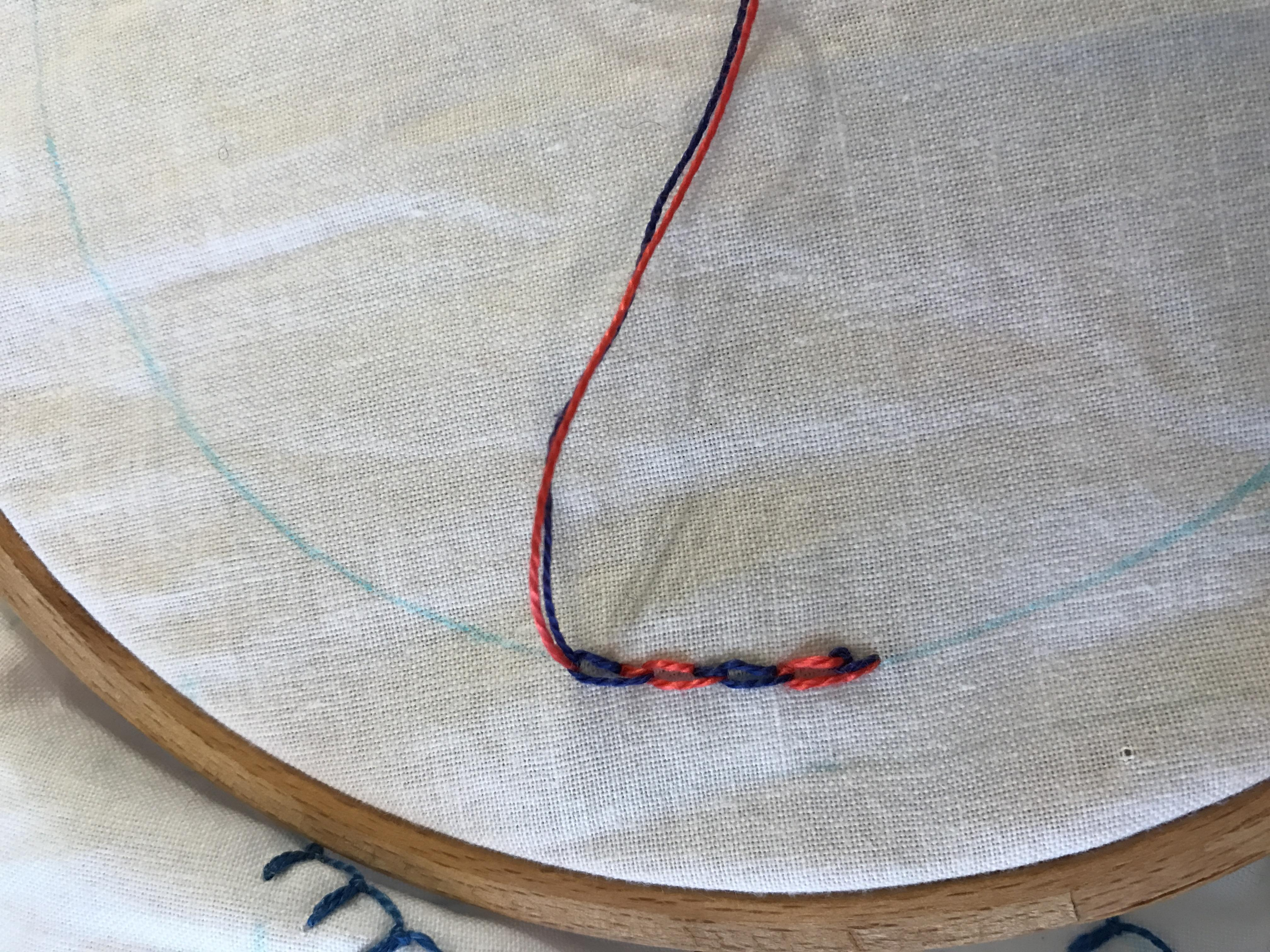 Embroidery: Checkered Chain Stitch