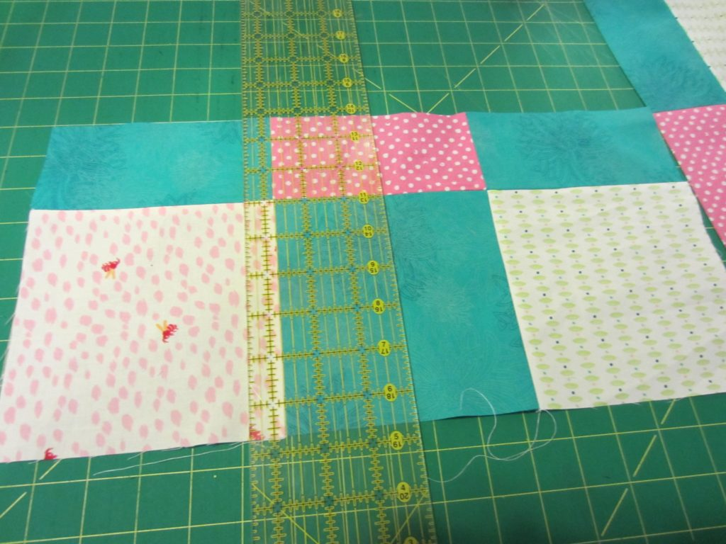 Making the second cut to the original squares