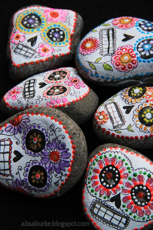 Sugar skull painted rocks
