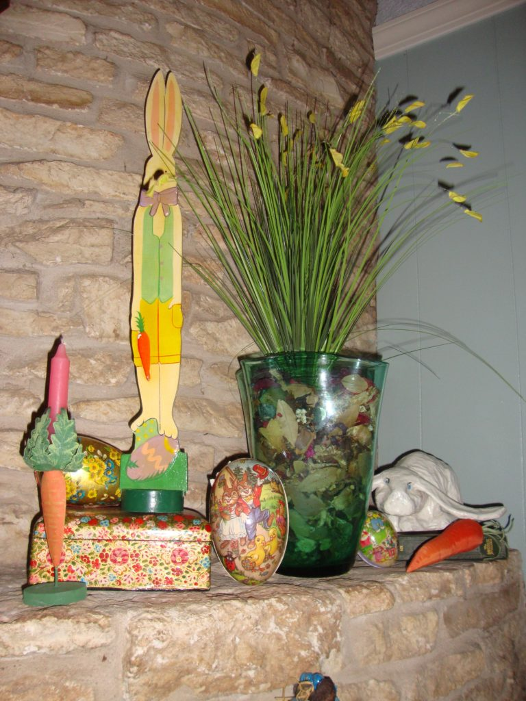 Close up of easter mantel