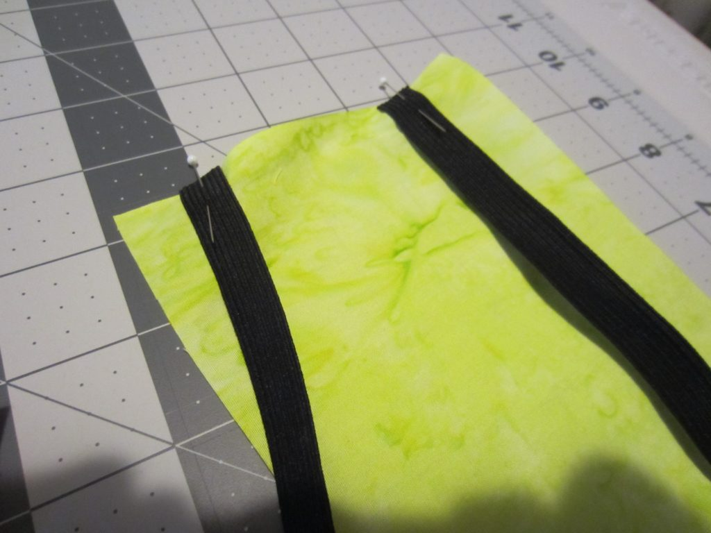 placing the elastic on the fabric