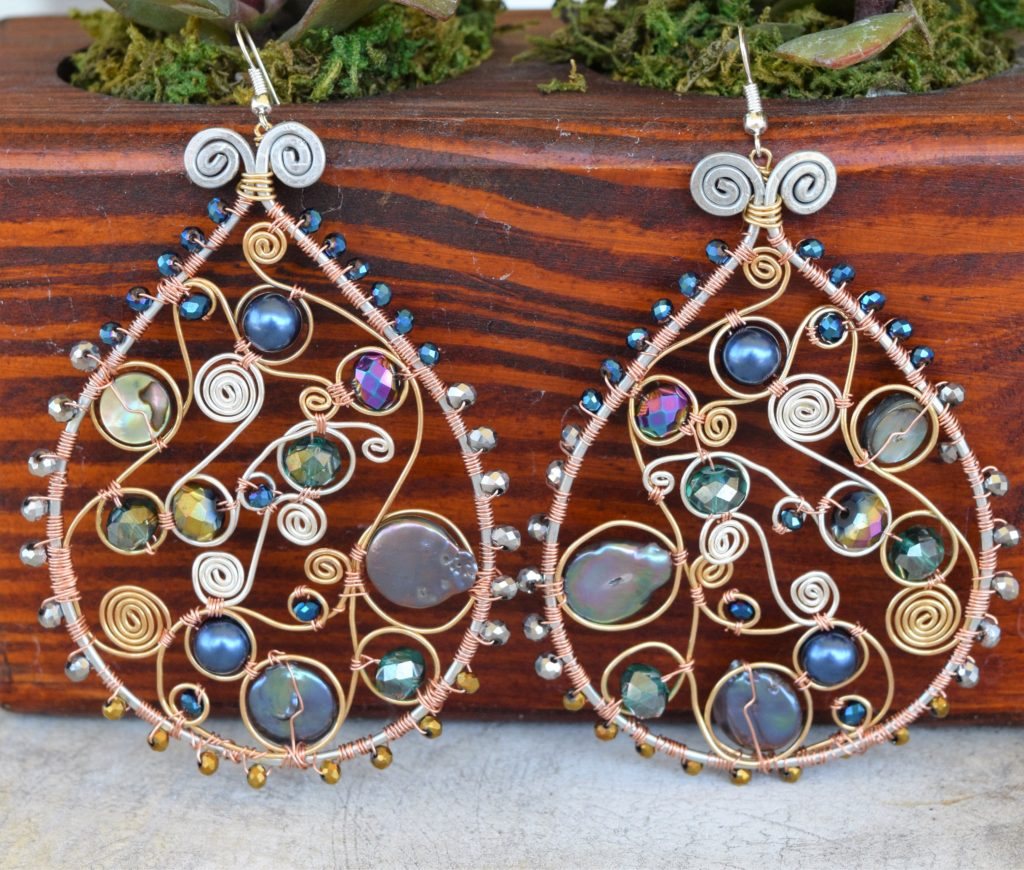 Wire wrapped earrings by Holly Glenn