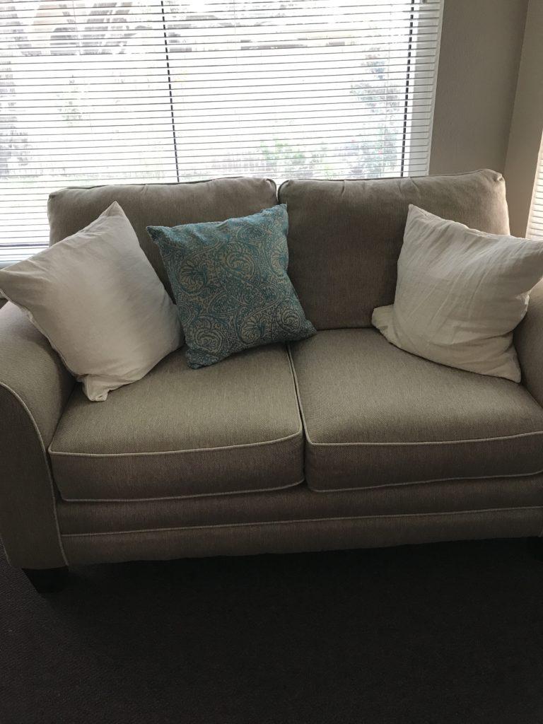 Plain pillows before stenciling