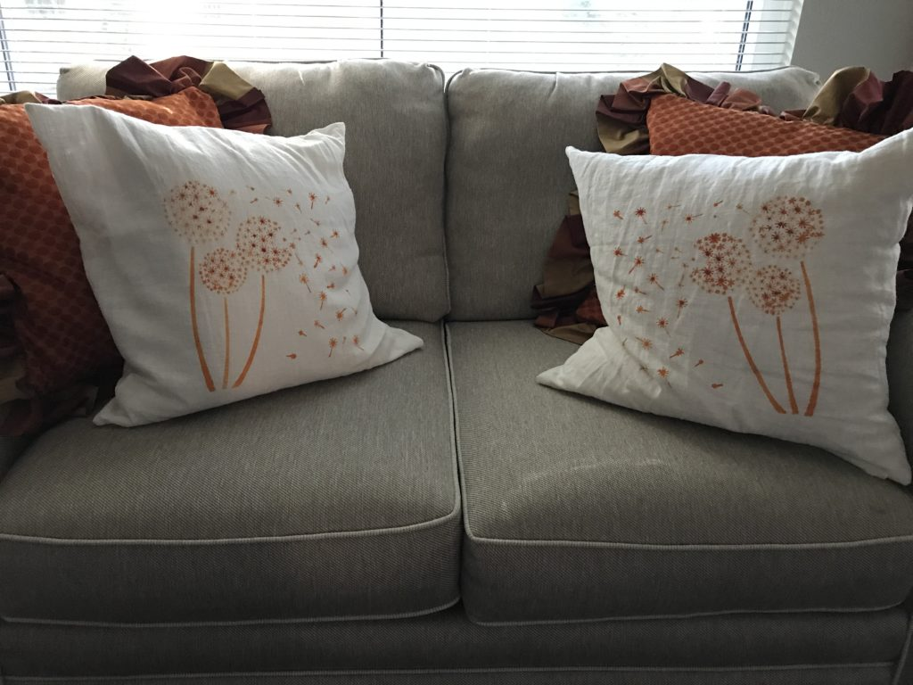 Finished stenciled pillows