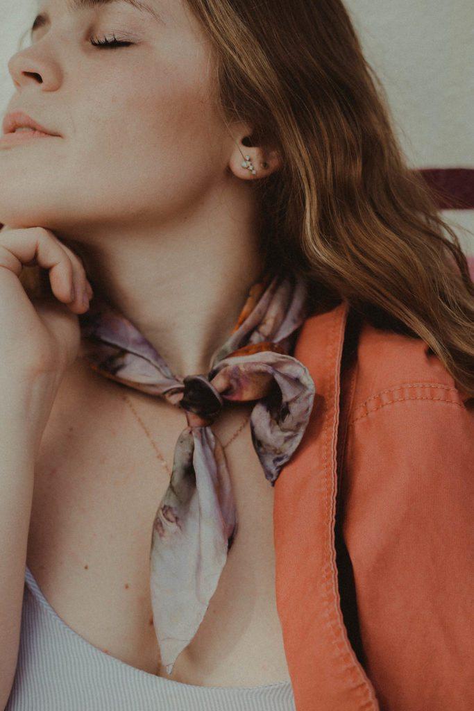 Botanically dyes silk scarf