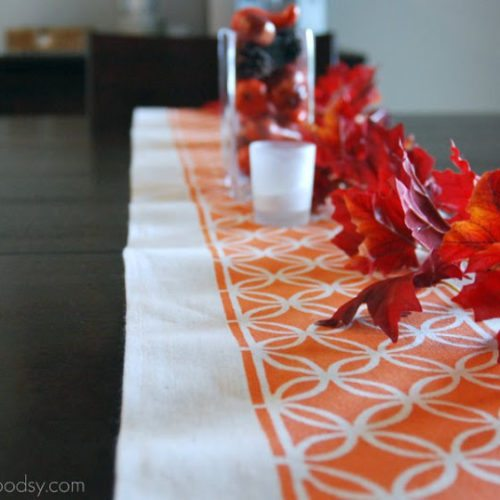 Sew Woodsy's fall painted table runner
