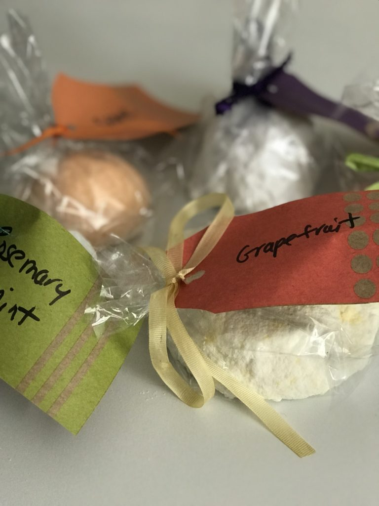 Collection of bath bombs wrapped and ready to give as gifts