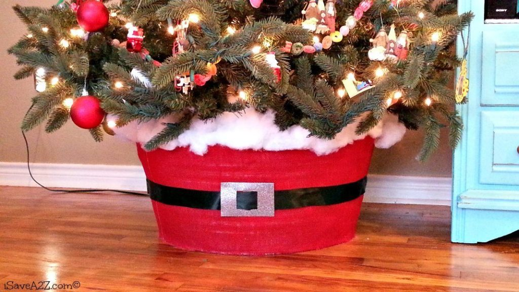 Santa Christmas Tree Skirt made out of a washtub