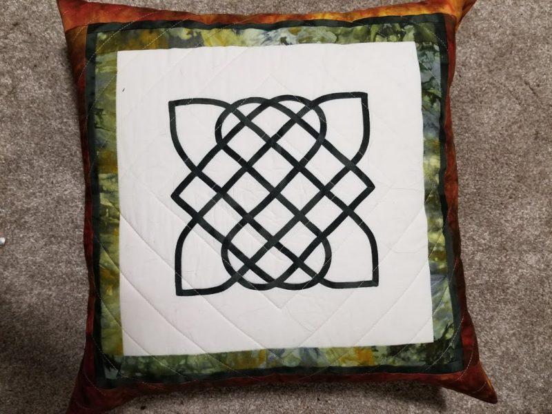 Finished celtic applique pillow
