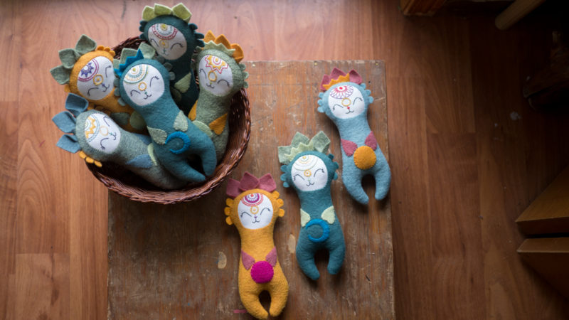 Collection of embroidered dolls