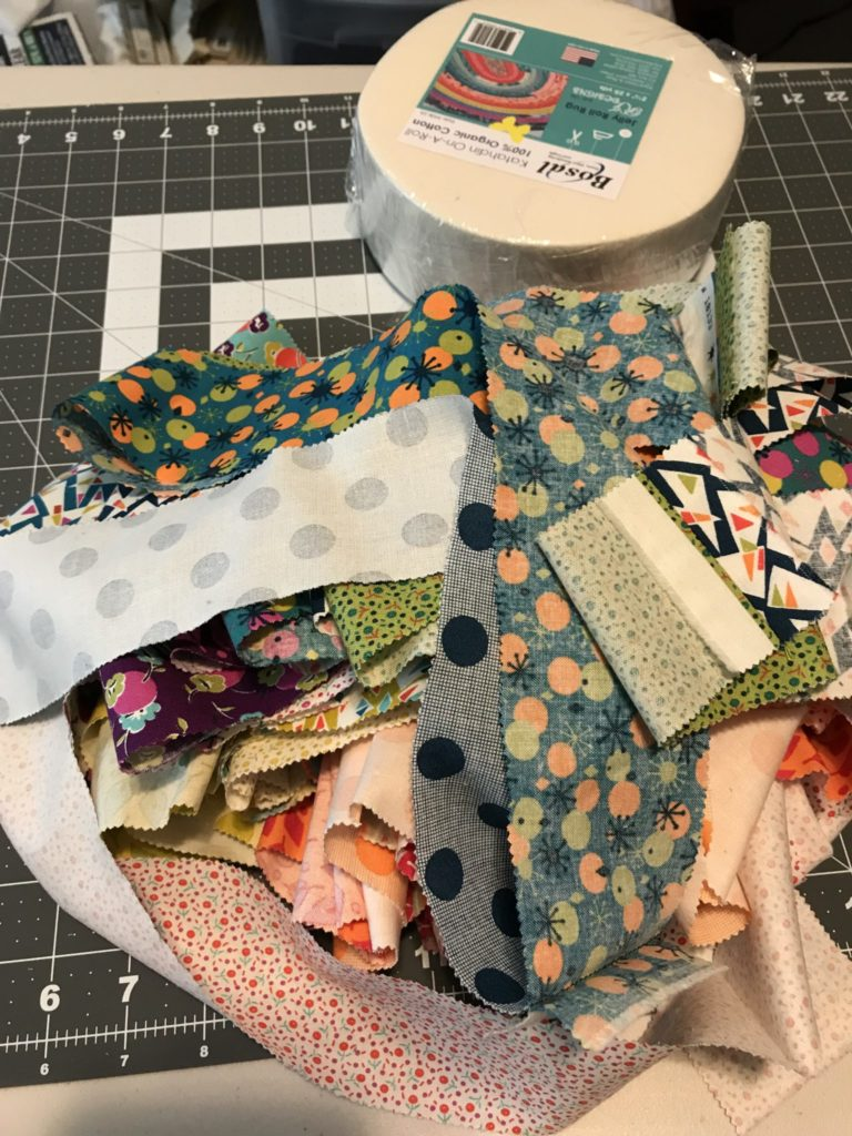 Fabric all sewn in one long strip.