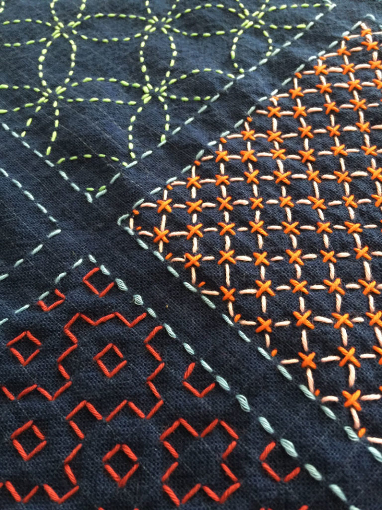 Carol Ziogas: four square sashiko sampler