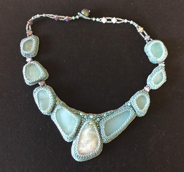 Cabochon beaded necklace by Pat